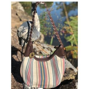 The SAK stripe leather braided strap small bag